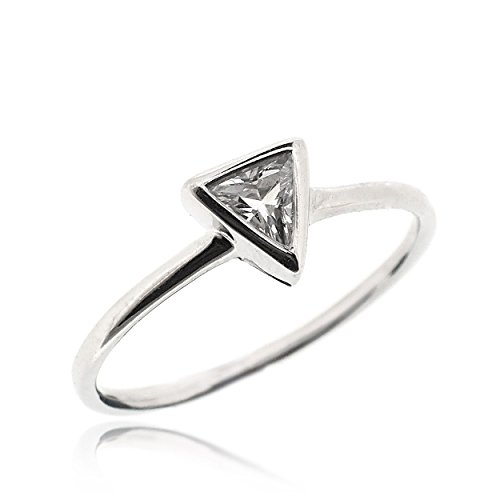 SOVATS Classic Solitaire Triangle Ring For Women Set With White Cubic Zirconia 925 Sterling Silver Rhodium Plated - Tarnish Resistant Comfort Fit Wedding Engagement Ring Band, Size (Comfort Fit Solitaire Setting)