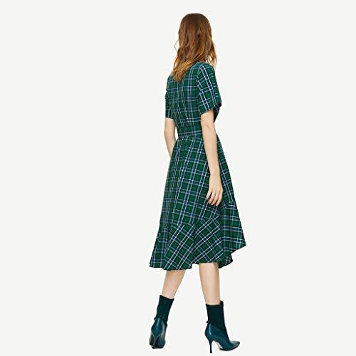 Abito Media Green Grande V Verde Size Tailleur Gonna Camicia Green color Nuovo S Estivo Lunghezza Scollo Contrasto Abbigliamento Donna Elegante A In wgXqZxB1S