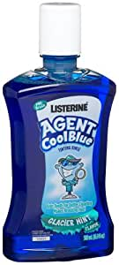 Listerine Agent Cool Blue Tinting Rinse, Glacier Mint, 16.9-Ounce Bottles (Pack of 4)