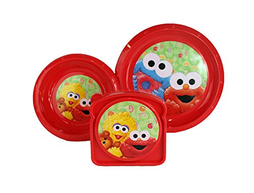 (Sesame Beginnings 3pc Dining Set for kids - Includes Red Bowl, Plate, and Sandwich Container featuring Elmo, Cookie Monster, and Big Bird)