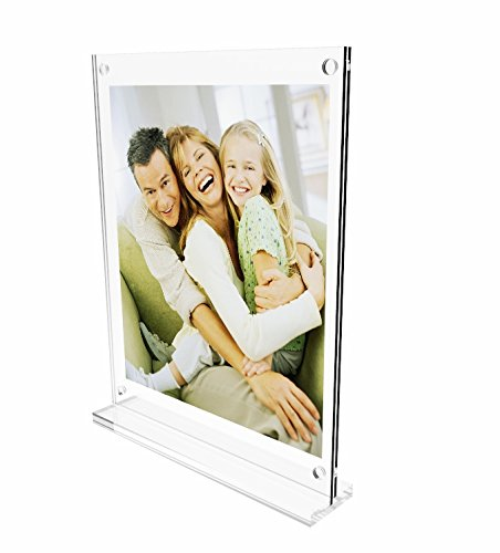 Tent Style Sign Holder - FixtureDisplays 8.5 x 11 Acrylic Sign Holder with Magnets, T-style - Clear19039 19039
