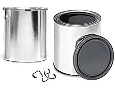 Quart Lined Paint Cans With Securing Clips Empty with Lids Gray Epoxy Lining (2 Pack) Metal Paint Storage Cans with tops / Plugs container set