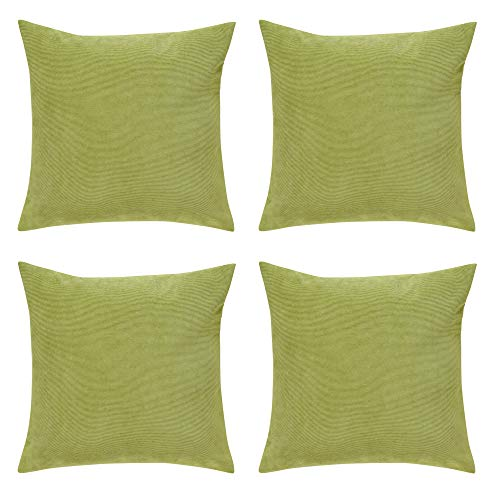 Deconovo Decorative Throw Pillow Covers 18 x 18 Inch Comfortable and Soft Corduroy Pillow Cases Soft Covers with Zipper Pillow Covers for Couch Lime Green Set of 4 No Pillow Insert