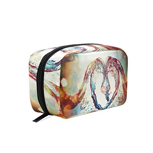 Water Love Heart Cosmetic Bag Black Zipper Storage Bag Portable Ladies Travel Square Makeup Brushes Bag