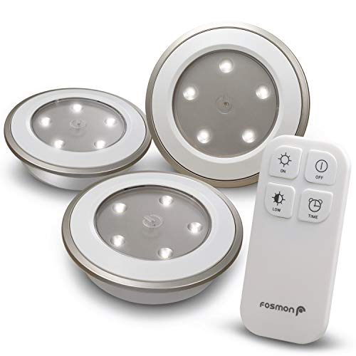 Fosmon Wireless LED Puck Light 3 Pack with Remote Control, Under Cabinet Lighting [5 LED Wide Floodlight Style, Soft White, 30LM, 30-Minute Timer, Battery Operated] for Kitchen Closet Bedroom Bathroom