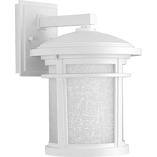 - Progress Lighting Wish Collection 1-Light Outdoor 9 Inch Textured White LED Wall Lantern