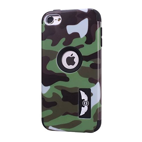 iPod Touch 6 Case, Lantier Cool Solider Camouflage Series 3 in 1 Plastic Hard PC+ Soft Silicone Hybrid High Impact Defender Case Covers Scratchproof Dustproof Shockproof ArmyGreen L-1275-2
