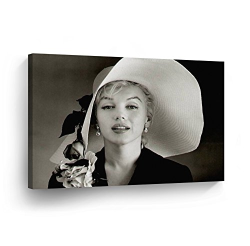 Marilyn Monroe in Big Hat Canvas Print Decorative Art Modern Wall Decoration Artwork Wrapped Wood Stretcher Bars - Ready to Hang -%100 Handmade in the USA - 8x12
