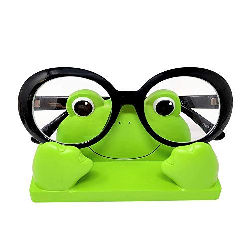 JewelryNanny Fun Frog Eyeglass Holder Stand for Kids Women - Securely Hold Kids Eyeglasses, Adult Reading Glasses Like Bedside Nightstand Organizer, Cute Desk - Kitchen Frog