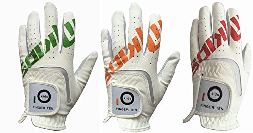 (Finger Ten New Synthetic Leather Pad Junior Youth Kids Left Hand and Right Hand Golf Glove Extra Value 2 Pack Christmas Thanksgiving Gift (Large Orange, left))