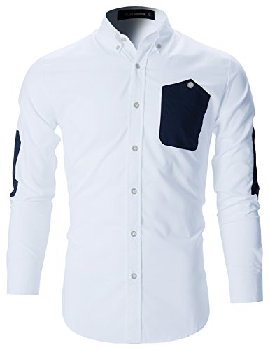 FLATSEVEN Mens Slim Fit Dress Shirts With Elbow Patches (SH108) White, M - Men Elbow Patch Shirt