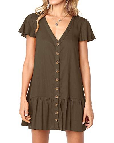 Imysty Womens Polka Dot V Neck Button Down Ruffles Loose Mini Short T-Shirt Dress (Large, Z1-Dark Brown)