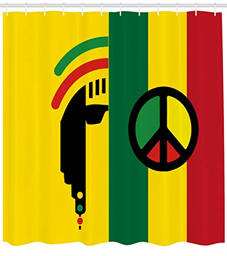- Ambesonne Rasta Shower Curtain, Iconic Barret Reggae and Jamaican Music Culture with Peace Symbol and Borders, Fabric Bathroom Decor Set with Hooks, 70 inches, Red Green Yellow