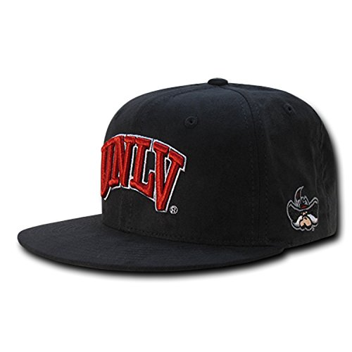 (University of Nevada Las Vegas UNLV Rebels Faux Suede NCAA Retro Flat Bill Officially Licensed Snapback Baseball Cap Hat)