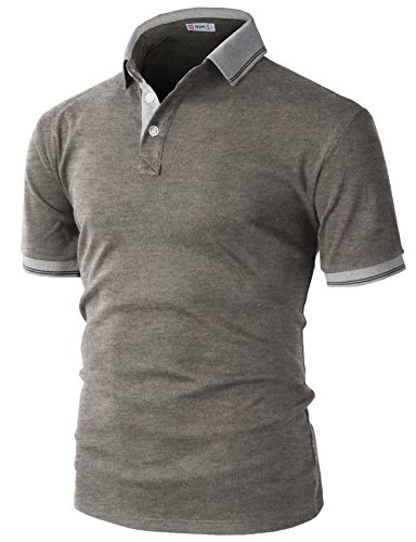 H2H Mens Casual Slim Fit Polo Brown US M/Asia L (KMTTS0560) by H2H