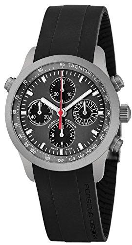 Porsche Design Mens Grey Face Chronograph Date Swiss Automatic Black Rubber Watch 6613.1050.0242