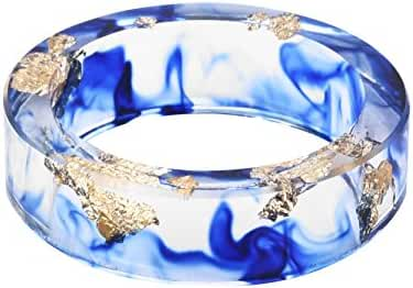 New Arrival Handmade Blue Color with Gold Paper Transparent Resin/Plastic Women/Men's Charm Ring
