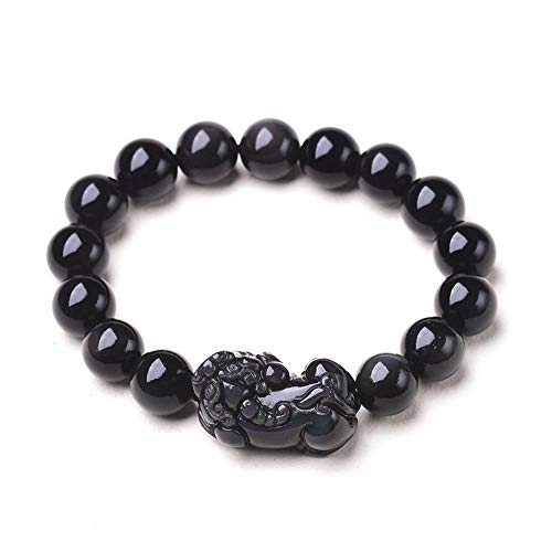 MGZDH Natural Rainbow Eye Obsidian Small Couple pixiu Bracelet Men and Women Double Color Eye Obsidian Single Circle Lucky Pixiu