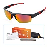 Sports Sunglasses, M-Better Sunglasses for Men or Women Cycling Running Driving Fishing Coast Vocation Golf Baseball Glasses Superlight Frame(Red Lens)