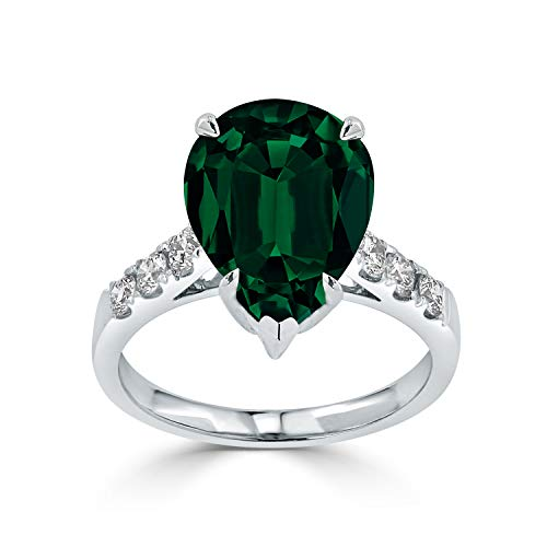 Diamond Wish 18k White Gold 4 1/5ct Emerald and 3/8ct TDW Diamond Engagement Ring, Size 8