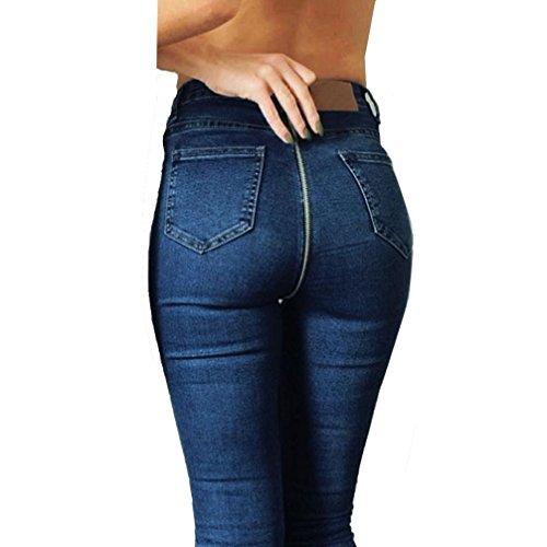 Sylar con Pantalones Personalidad Mujer Cintura Delgados Vaqueros Cremallera De Alta Vaqueros Stretch Lápiz Flacos Pantalones Azul La rXWqrS