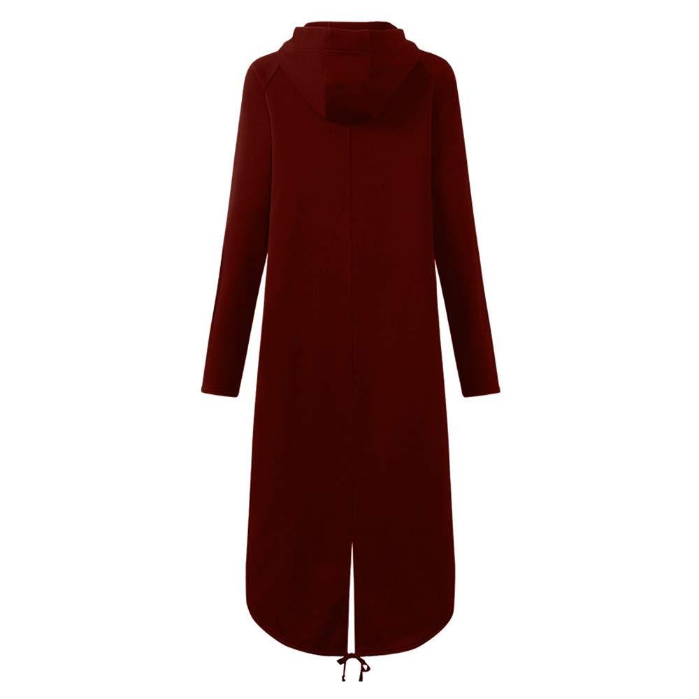 Vibola Women Fashion Hooded Full-Zipper Irregular Jacket Long Sleeve Long Solid Coat with Pocket