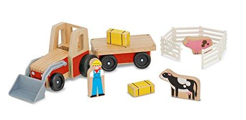 Melissa & Doug Farm Tractor Wooden Vehicle Play Set (5 (Farm Vehicle)