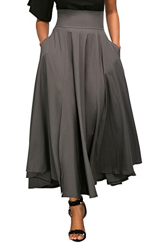 Women Retro High Waist Pleated Belted Maxi Skirts with Pockets Gray M