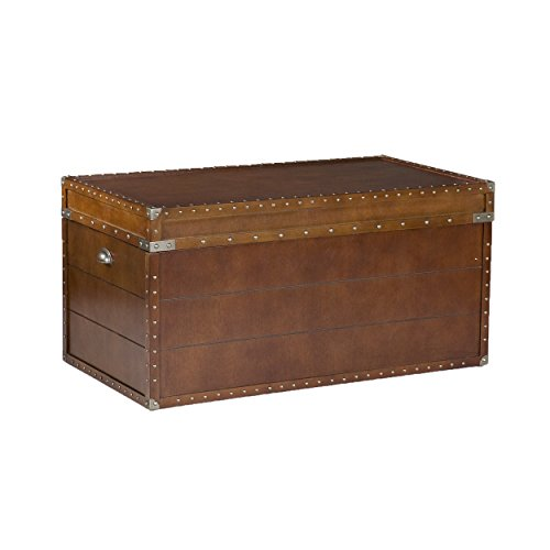 037732041919 - Southern Enterprises Steamer Storage Trunk Cocktail Table, Walnut Finish carousel main 6