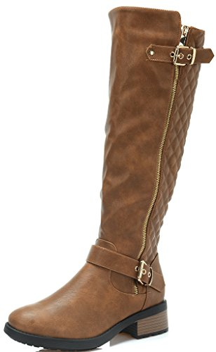 DREAM PAIRS UTAH Women's Quilted Zipper Double Buckles Accent Round Toe Low Stacked Heel Riding Knee High Boots 3W-CAMEL-SZ-6.5 Image