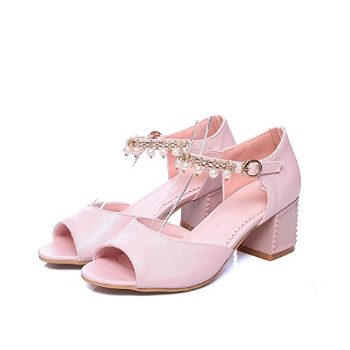 AdeeSu Womens Sandals Peep-Toe Buckle Heeled Road Peep-Toe Smooth Leather Fur-Lined Huarache Fashion Urethane Sandals SLC03495 Pink eSG36KYah