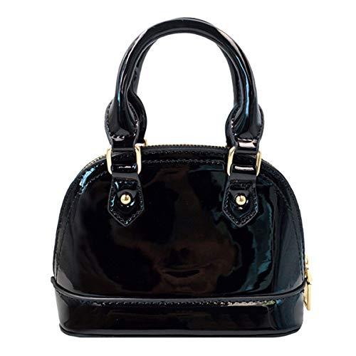 Patent Satchel Handbag - CLARA Women Mini Patent Leather Dome Handbag Shell Satchel Wedding Clutch Purse Black
