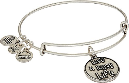 Alex And Ani Womens Words Are Powerful   Live A Happy Life Rafaelian Silver One Size