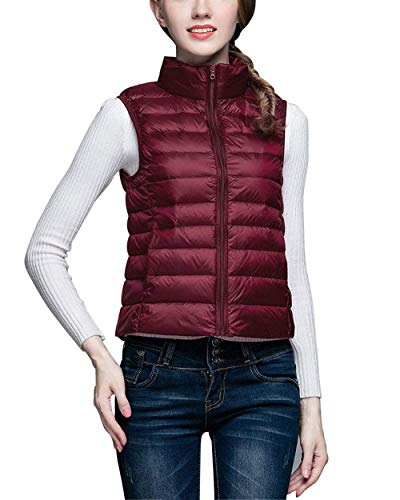 Femme Gilet Matelass Printemps Automne Elgante sans Manches Col Roul Gilet en Duvet Vtements Lgrement Rembourr Gilet Fashion Casual Confortable Vest Warm avec Zip Outerwear avec Poches Winered