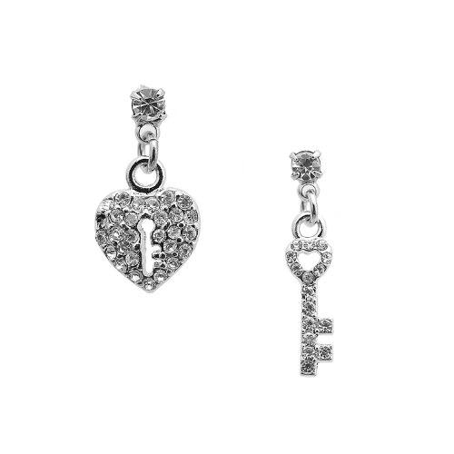 Spinningdaisy Silver Plated Crystal Key and Heart (Heart Tiffany Style Key Ring)