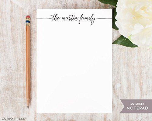 (FLOWING SCRIPT NOTEPAD - Personalized Classy Stationery/Stationary 5x7 or 8x10 Note Pad)