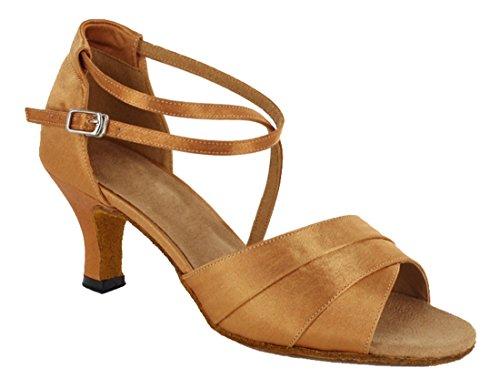 TDA Womens Ankle Strap Peep Toe Synthetic Salsa Tango Ballroom Latin Modern Dance Wedding Shoes 6cm Brown X5pb42Ru
