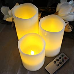 BEST FLAMELESS CANDLES WITH TIMER REMOTE CONTROL, Unscented Flickering Battery Operated Electric Candle for Home Decor, Weddings, Parties and Awesome Gifts