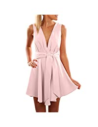 KpopBaby Dresses for Women, Fashion Women Sleeveless Printing Sleeveless Bandage Sexy Jumpsuits Summer Novelty