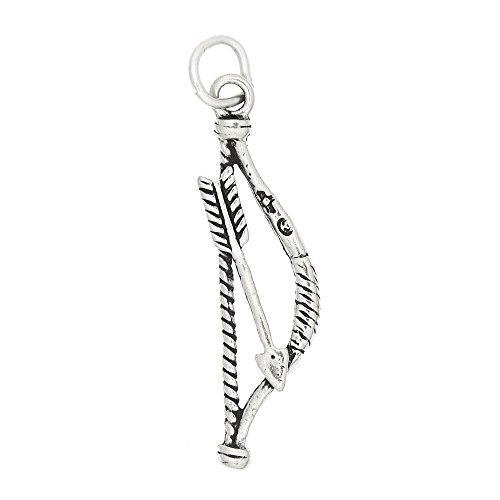 Sterling Silver Oxidized Archery Bow and Arrow Charm Pendant (Silver Pendant Bow)