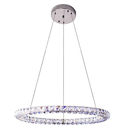 Aero Snail Dia 24-inch Modern Single Cool White LED Ring K9 Crystal Pendant Light Ceiling Lamp Fixtures