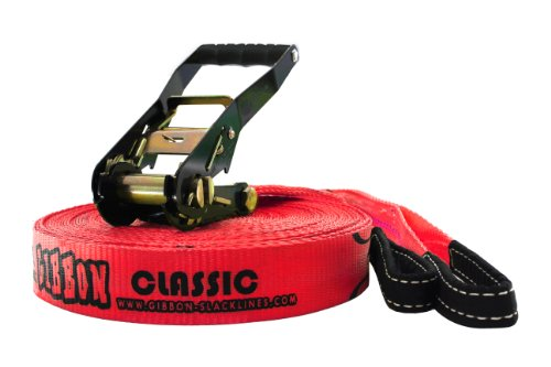 Gibbon Slacklines Classic Kit (49-Feet/15-Meter, Red), Outdoor Stuffs