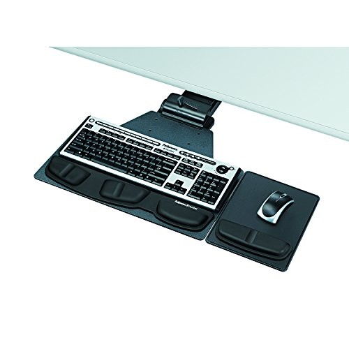 Fellowes 8035901 Professional Corner Executive Keyboard Tray, 19w x 14-3/4d, Black by Fellowes