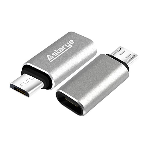 USB C FeMale to Micro USB male OTG Adapter Astarye 2 Pack USB3.1 Type C OTG Adapter Charging Data Sync Converter for Galaxy S8 / S7 / S6 / S5 / Edge, Note 5 / 4 / 3, Nexus 6P, Galaxy Tab S5