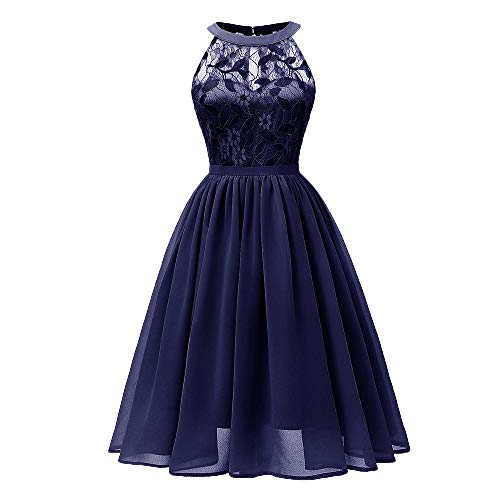 DEATU Princess Lace Dress Women Vintage Floral Cute Lace Cocktail Neckline Ladies Party Aline Swing Sleeveless Dress(B-Navy,M)