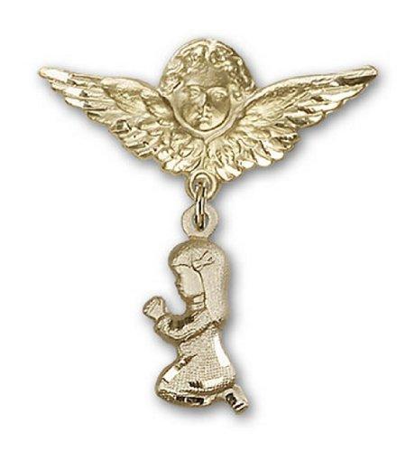 Icecarats Or Bijoux De Créateurs Rempli Prier Charme Fille Broche De Badge Angel 1 1/4 X 1 1/8
