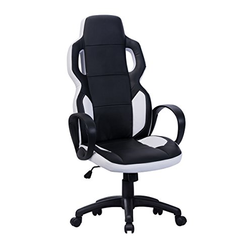 Sunmae Game Chair Racing Style High-Back Office Gaming Chair Ergonomic Executive Swivel Computer Chair Leather Black White