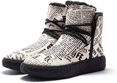 ハイトップ暖かい雪のブーツレターパターンラウンドヘッドストラップスタイルアウトドアスリップ耐摩耗性のカジュアルな綿のブーツ (色 : 黒, サイズ : 25 CM)