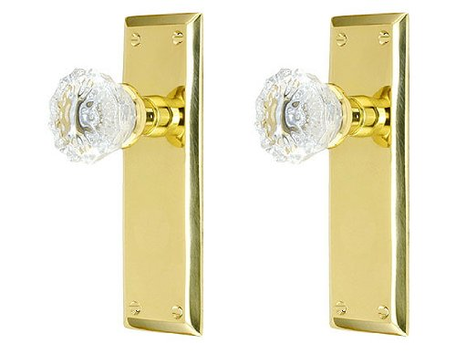 Double Surface Mount French Door Dummy Knob for one side of Two French Doors. Perfect Replica of the Crystal Knobs. Stamped Solid Brass Backplates and Installation hardware for any solid surface (Double Sided Lock Door Knob compare prices)