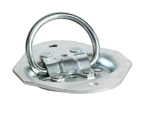 DC Cargo Mall Light Duty Zinc-Plated Oval D Ring Tie-Down, Recessed Floor Surface Flush Mount Pan Fitting, WLL 400 lbs. ()